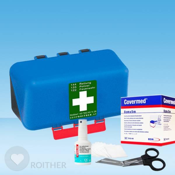 SecuBox gefüllt mit Wundreinigung, Pflasterschnellverband und Schere